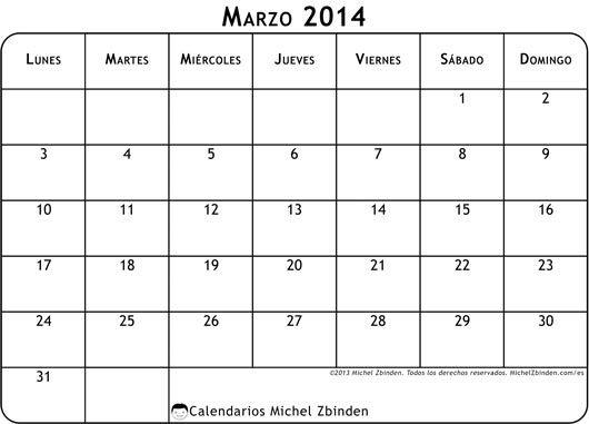 calendario marzo 2014 para imprimir gratuito imprimible horario agenda planificación convocatoria mensual mes semana lunes dinámica naranja brillante futuro estilo moderno