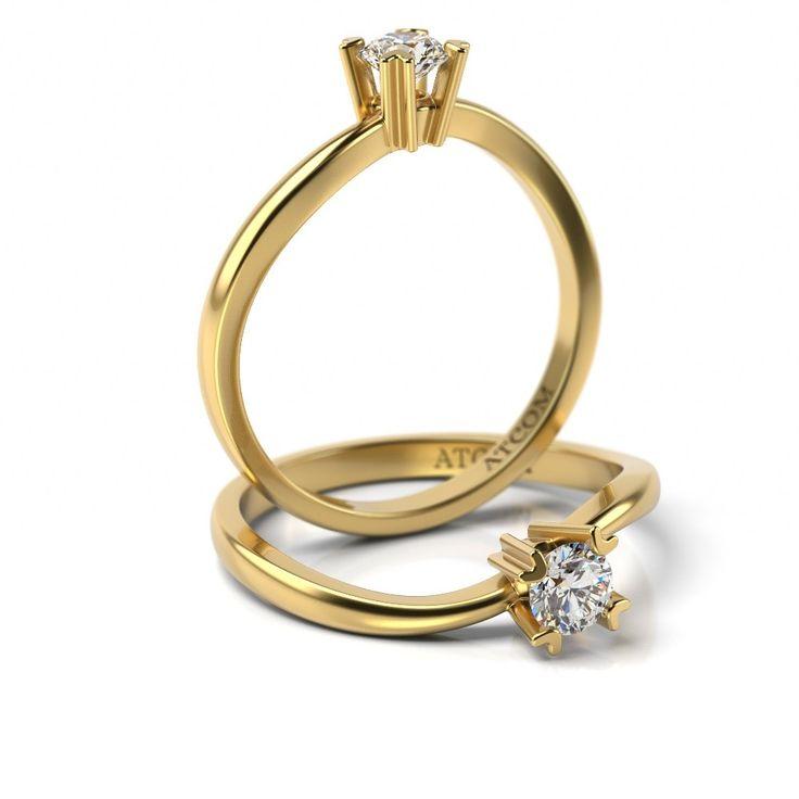 Inel de logodna cu diamant Haleb din aur galben