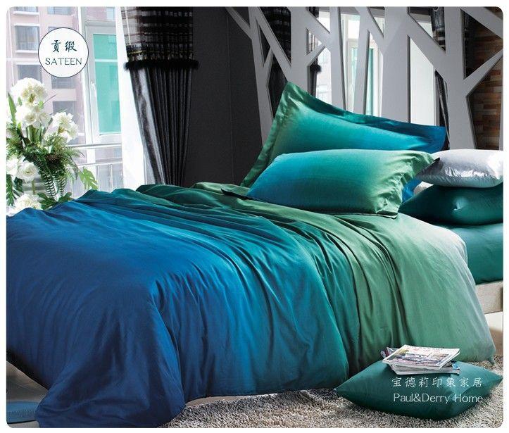 Aliexpress.com: Comprar Azul degradado verde juegos de cama queen king size edredón fundas de edredón hojas bed in una bolsa ropa de colchas sábanas de algodón 100% de hojas de encaje fiable proveedores en Sweet Home---Maggy's store