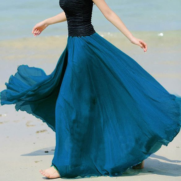 Summer Bohemian Style Skirt Pleated Maxi Skirt Multi Colors Amazing Chiffon Women Long Skirt High Quality 63