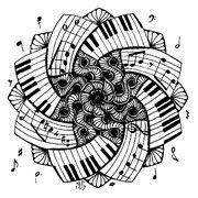 Coloriage adulte Mandala Piano
