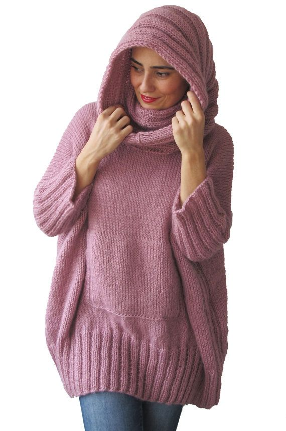 WINTER SALE Pink Hand Knitted Sweater with Accordion Hood and