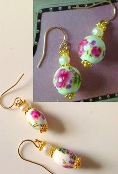 aretes florales-aretes rosados-pendientes florales-pendientes rosados-