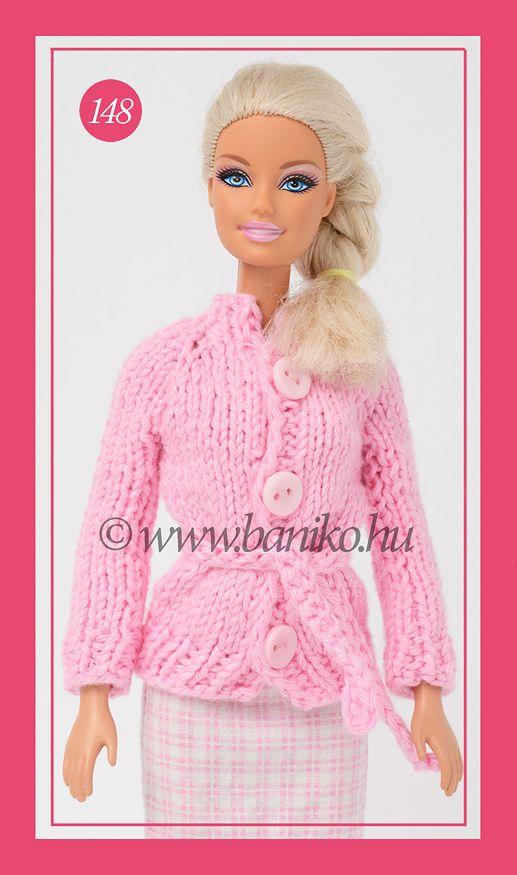 Rózsaszín, kötött Barbie kardigán