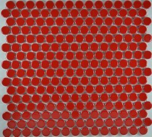 Product ID:MCP118 3/4X3/4 Penny Round Red Glossy #Profiletile