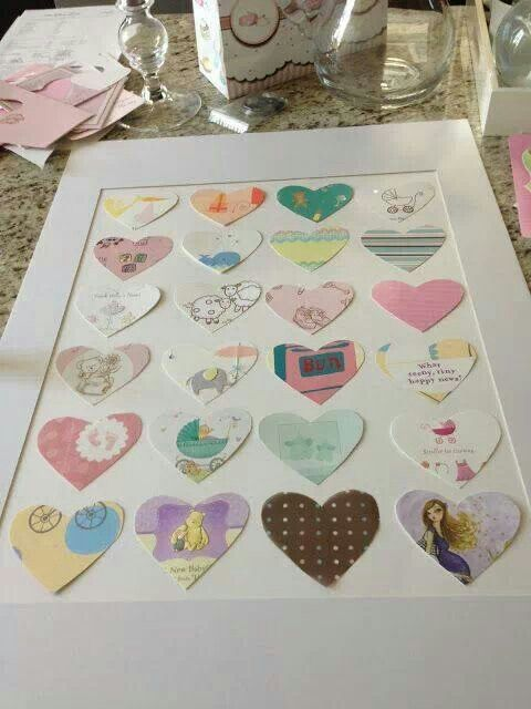 Cute idea-pieces of wrapping paper from a wedding or baby shower.