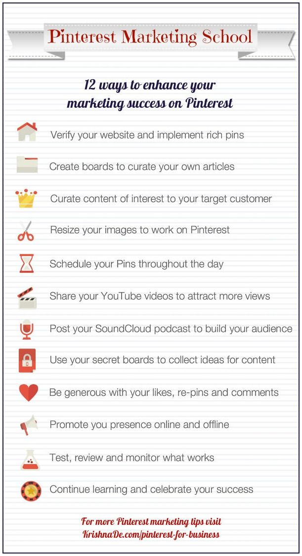 "SOCIAL MEDIA -         ""Pinterest Marketing School - 12 ways to enhance your marketing success on #Pinterest""."
