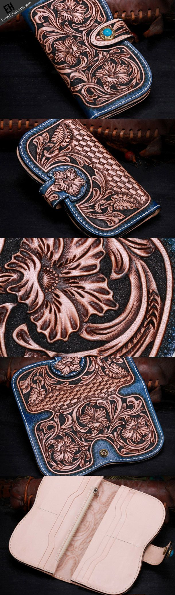 Handmade leather Blue Floral women wallet leather men clutch