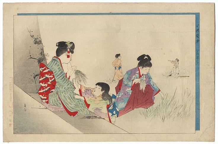 Original Meiji era Japanese Woodblock Print   Collecting and Tying Grass