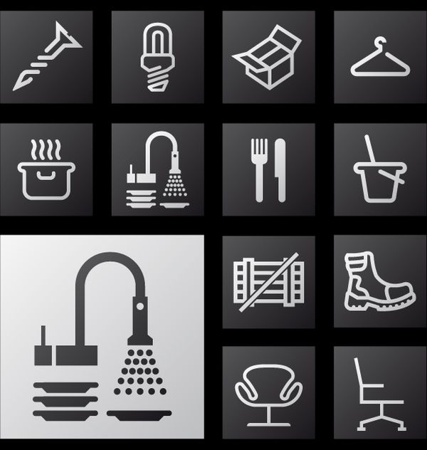 Icon set for a waysigning project by Leffe Goldstein, via Behance