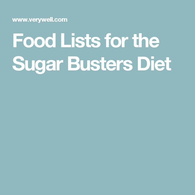 Food Lists for the Sugar Busters Diet