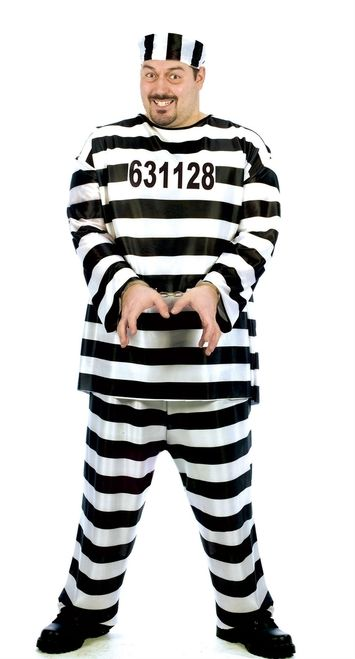 Men's Jailbird Plus Size Convict Costume - This convicted jailbird escaped convict costume is perfect for Halloween and couples. It comes with a baggy striped numbered shirt that pulls over the head, matching pants with an elastic waist and a convict cap. An easy and comfortable costume fitting up to 300 lbs, this is great for cops and robbers themes or Halloween. #prison #uniform #convict #yyc #costume
