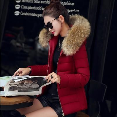 Warm Fur Collar Hooded Thicken Short Parkas 2017 Slim Fit Fashion Women Padded Jacket Winter Casual Plus Size Wadded Coat WFY165