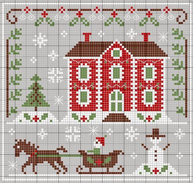 Schema punto croce paesaggio natalizio
