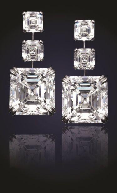 24.81 Carat Asscher-cut diamond earrings . Designed by Viggi.