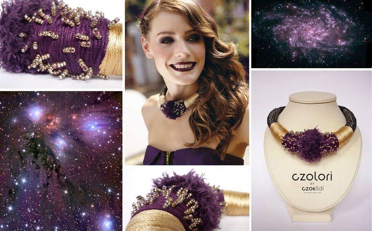 Statement yarn choker by Czolori (gold and purple) http://czokildihu.bigcartel.com/