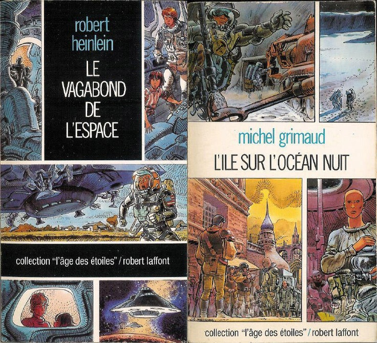 """The one on the left is the French version of Heinlein's """"Have Spacesuit Will Travel"""", cover illustration by Mézières."""