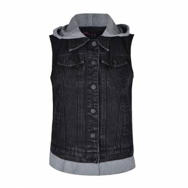 DENIM SLEEVELESS JACKET WITH JERSEY HOOD