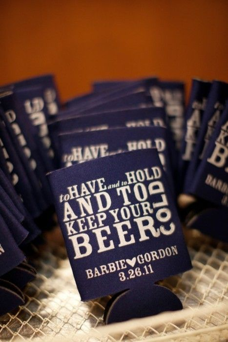 beer coozies for favors. hilarious. i actually really want to do this