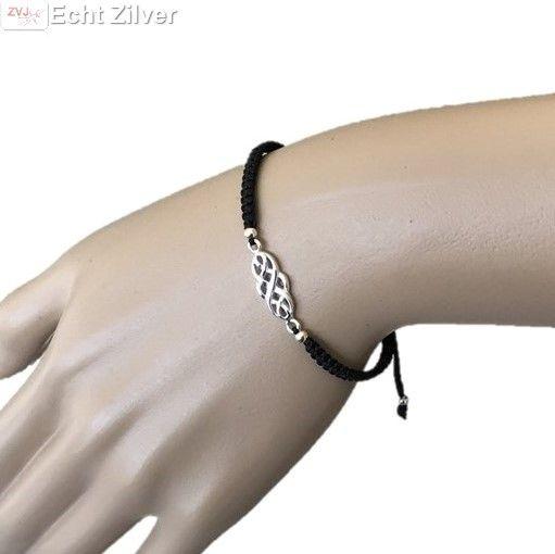 Zilveren keltische knoop polyester armband