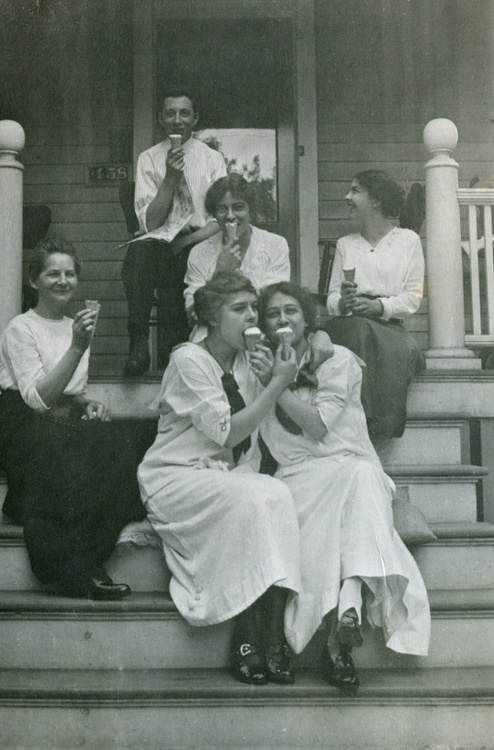 1915.  Eating ice cream on the porch on a summer day!