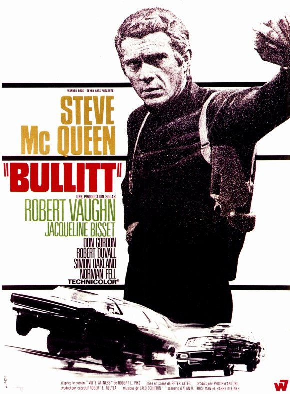 Bullitt (1968) - incomprehensible, but San Francisco is so hip and Steve McQueen is just so cool!. Crime drama film. Original movie poster.  http://scottgronmark.blogspot.co.uk/2016/03/my-alternative-to-american-film.html