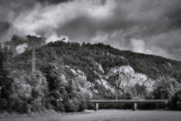 bwstock.photography  //  #church #river #Tyrol #bridge