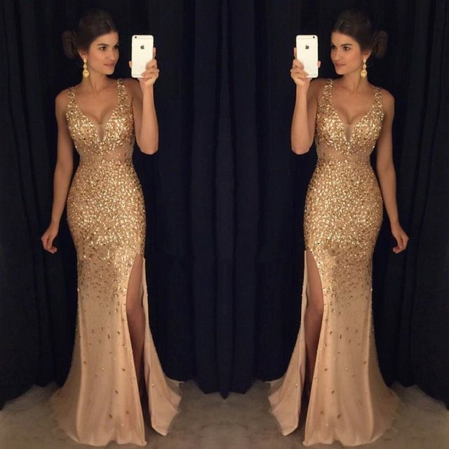 Find More Evening Dresses Information about fashion luxury evening dresses with slit 2017 v neck crystal beaded mermaid womens pageant gown for formal party vestido festa,High Quality gown wedding dress,China gown dress Suppliers, Cheap dress up mix baby from suzhou helen wedding dress company on Aliexpress.com