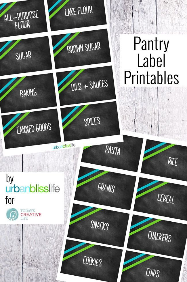 Free Printable Pantry Labels   Time to organize your food pantry. These cute printable labels will bring order to your space. This modern take on a chalkboard label will look great! Get yours on TodaysCreativeLife   Designed by UrbanBlissLife