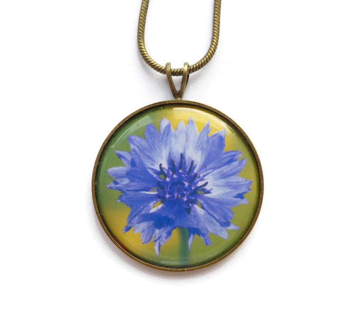Blue Cornflower Necklace, Flower Necklace, Blue Necklace, Cornflower Blue, Gift For Her, Flower Jewelry, Hand made Jewelry, Photo Jewelry by Larryware on Etsy