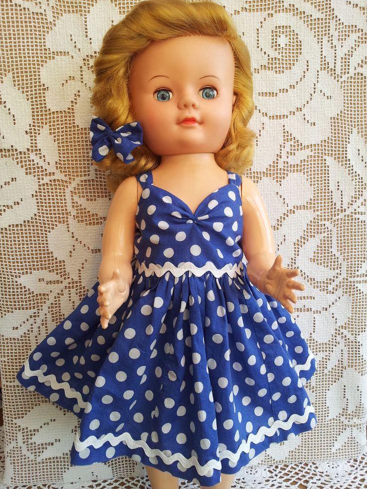 """SalStuff, Blue Polka Dot Strappy Dress for 22"""" Doll Pedigree Vintage 1950/60's"""