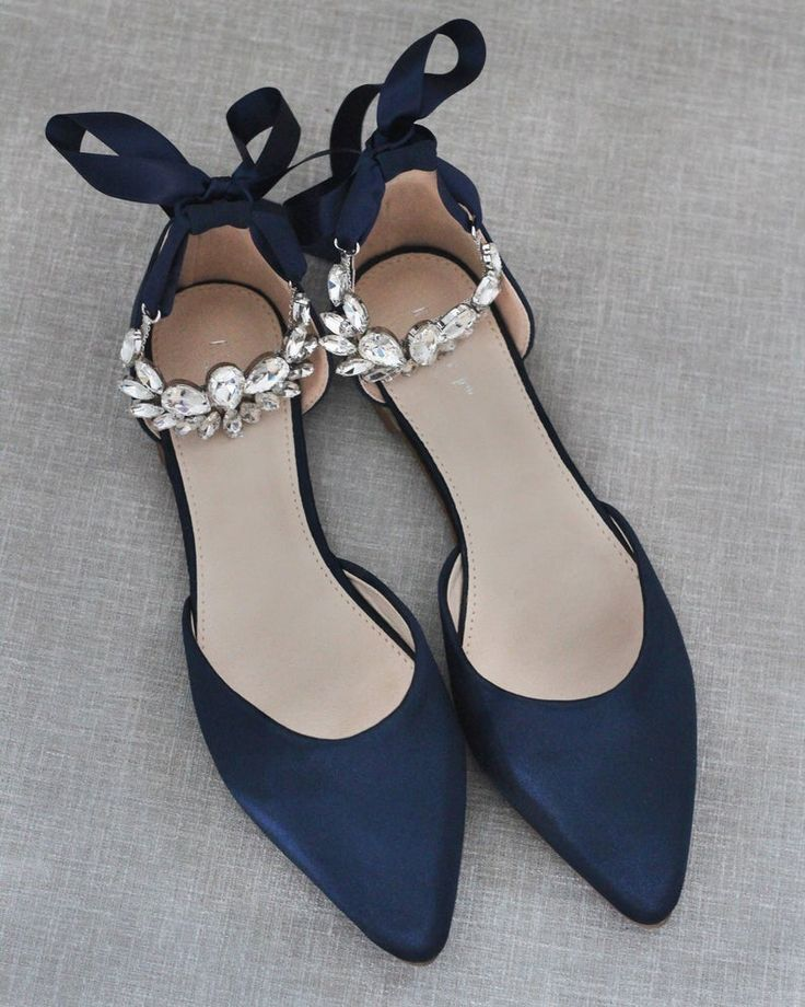 NAVY Satin Pointy Toe flats with PEAR CLUSTER Rhinestones