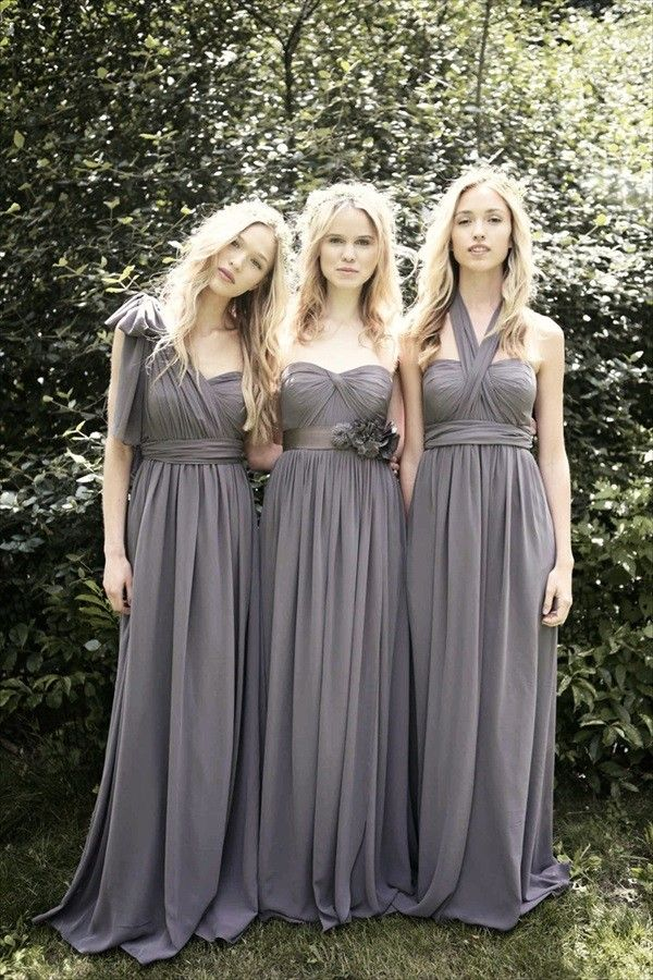 Long Convertible Chiffon Dresses in Charcoal.... love the color and style with the classic tuxedos