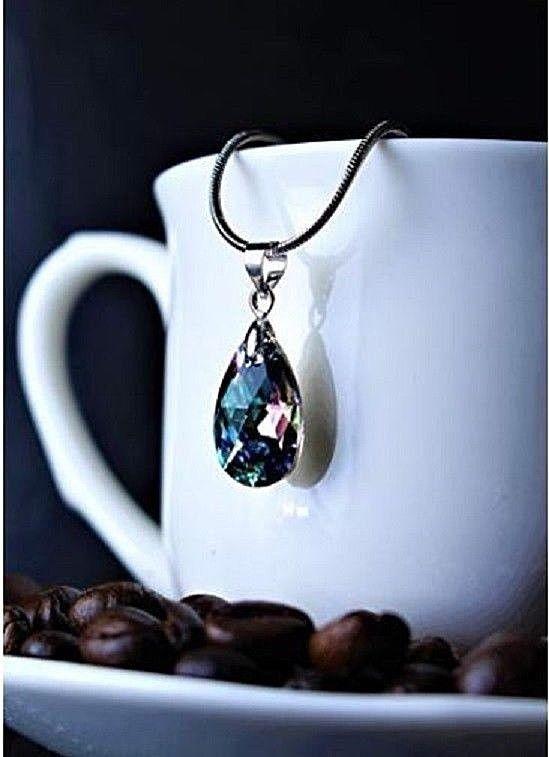 29e43c0f10 Aquamarine Crystal Pendant 18K White Gold Plated 16 Inch Swarovski Necklace  #swarovski #Pendant #Necklace #Jewelryjew