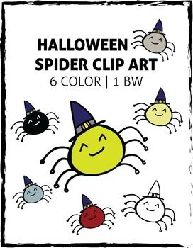 Halloween Spiders! This fantastic kit contains 7 high-resolution halloween spiders (6 colour, 1 black and white) perfect for decorating the classroom, using on classroom websites, bulletin boards, halloween worksheets, spelling lists, October calendars, etc.!Zipped file contains 7 .png files (transparent background).Happy Halloween!***SAVE BIG WITH***Smiling Sunshine and Rainbows Clip Art KitThanksgiving / Autumn Clipart BundlePenguin Winter Clip Art - Feedback ChallengeSmiling Bats Clip…