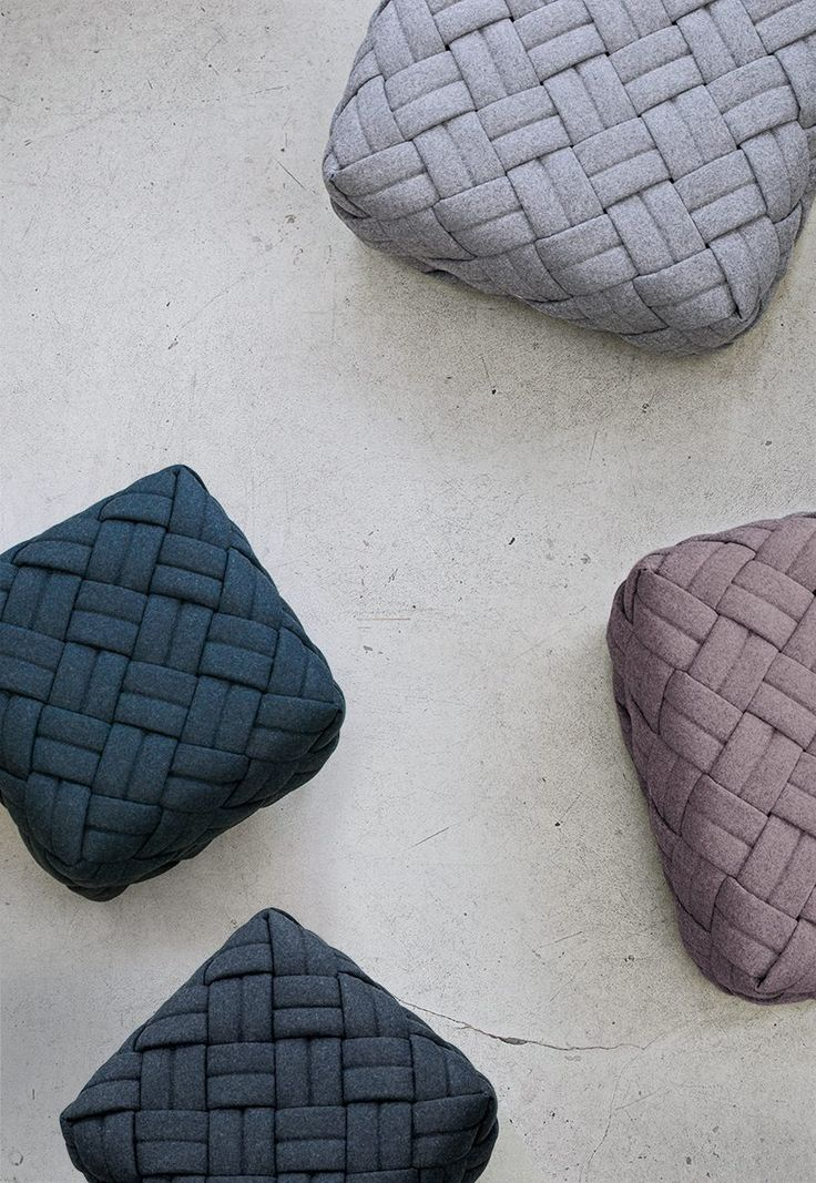 KUTO by Kumeko, woven poufs, available in four different colours that evoke the imagery of Nordic nature (Pine Forest, River Stone, Misty Morning and Winter's Day)