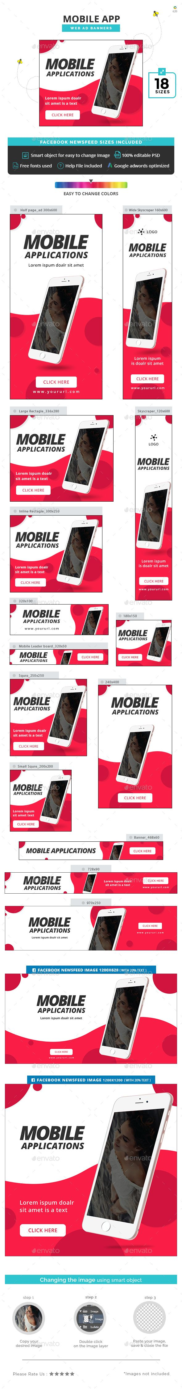 Mobile App Banners - #Banners & Ads #Web Elements