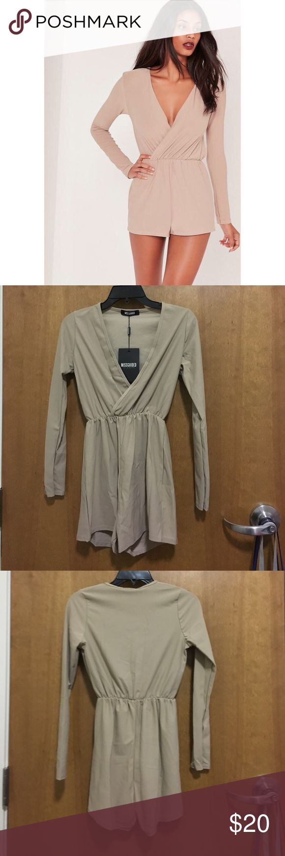 Nude long sleeve wrap romper size 2 BNWT Size 2 wrap playsuit/romper runs a liiiiitle small- brand new never worn Missguided Dresses