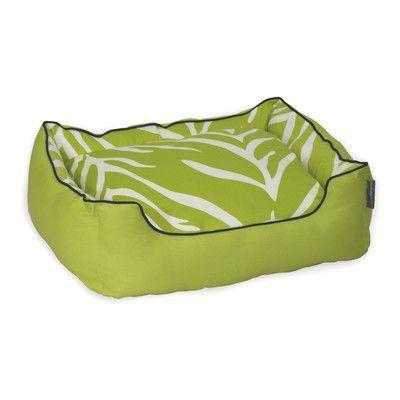"EZ Living Home Zebra Bolster Pet Bed Size: Medium (24"" H x 28"" W), Color: Cream on Lime"