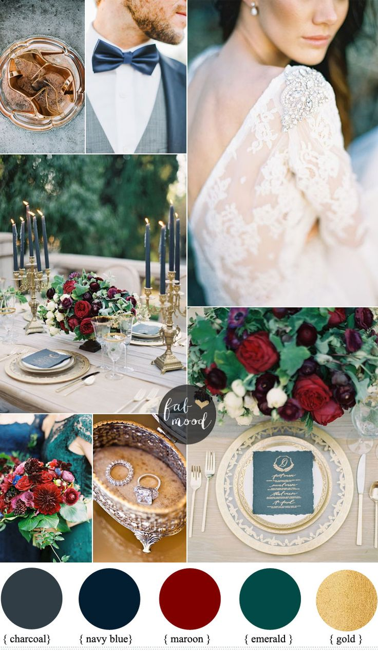 Trying to avoid the standard rustic fall colours,we paired Navy blue and Maroon For a Romantic autumn wedding,add gold,emerald...November wedding colours