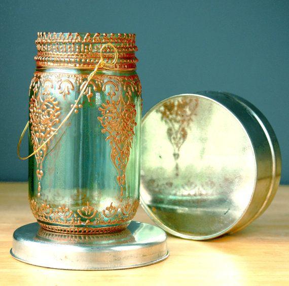 Aqua Mason Jar Lantern with Moroccan Styled Copper von LITdecor