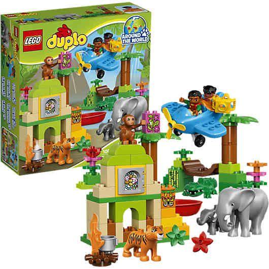 Trete die Nachfolge von großen Entdeckern und Abenteurer an, mit dem LEGO DUPLO Dschungel (LEGO-Nr. 10804).<br /> <br /> Kleine Abenteurer erhalten mit diesem Set unzählige Lern- und Spielmöglichkeiten. In den Ruinen kann ein Schatz gefunden werden. Vater und Kind können einen Rundflug im Flugzeug machen oder eine spannende Expedition durch den Dschungel machen und müssen dabei gemeinsam viele Gefahren bestehen: wackelige Hängebrücken, Flüsse voller Krokodile und weitere wilde Tiere. <br…