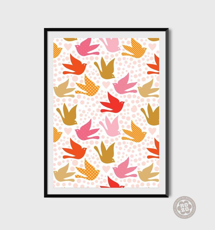 love+birds+No.2+//+tisk+autorské+grafiky