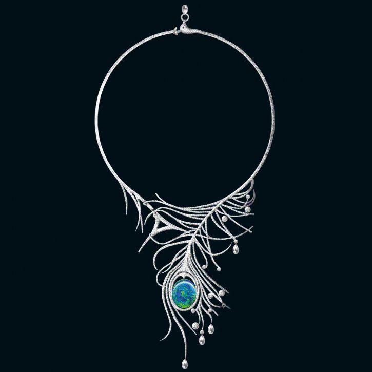 Necklace | Boodles. 'Wonderland India Blue'.  Opal, briolette and brilliant-cut diamonds in platinum