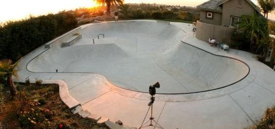 Tony Hawk has this 5000 square foot flowing practice rink in his backyard