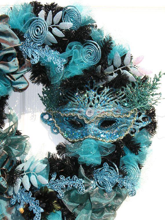 Mardi Gras Wreath / Aqua Blue and Silver Wreath / Mask Wreath / Holiday Wreath / by English Rose Designs Oh