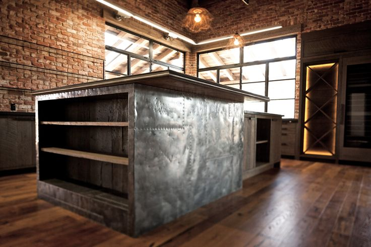 Zinc clad breakfast bar rustic modern kitchen http for Kitchen zinc design