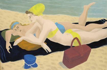 'Ferdinand' George Erfmann (1901-1968) Sunbathing on the beach, oil on canvas. Collection Simonis & Buunk, The Netherlands