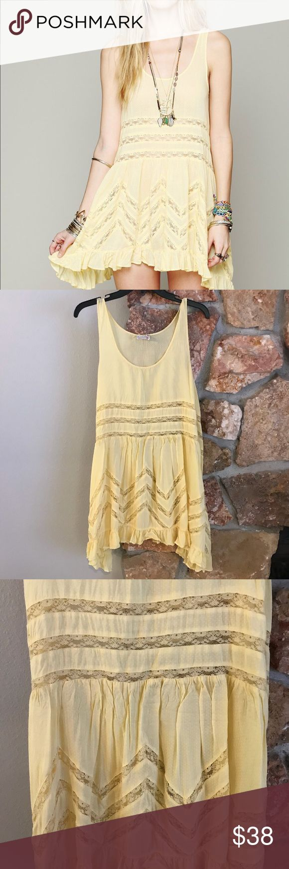 Free People Trapeze dress EUC, pale yellow voile and lace trapeze dress by Free People. Perfect piece for layering. Free People Dresses Mini