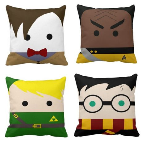 Handmade Geek Chic Pillows So cute. I got a sewing machine for my anniversary (don't worry, I asked for one) and I'l looking to start with pillows just play with the machine... Not these but they are sooo cool.